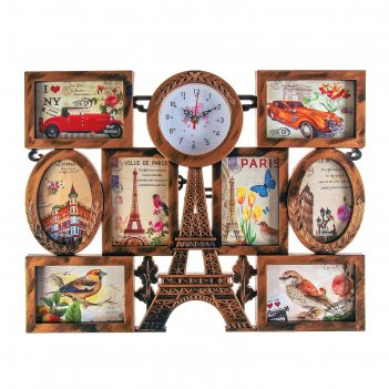Часы настенные, серия: фото, эйфелева башня, 8  фоторамок, под дерево, 55х