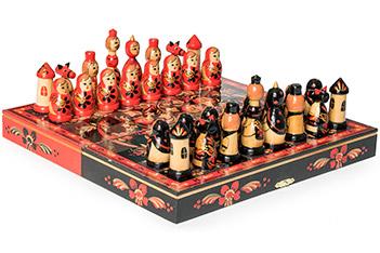 Шахматы матрешки хохлома 30х30см ручная роспись