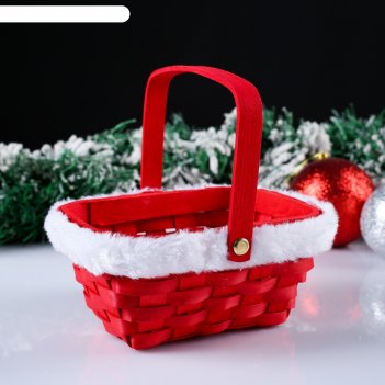 Корзина «новогодняя», красная, 15x12x7,5/25 см, шпон