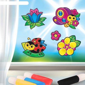Витражные фигурки цветы и бабочки