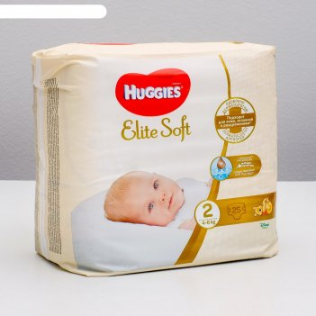 Подгузники huggies elite soft 2, 4-6кг, 25 шт