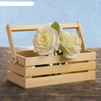 Кашпо деревянное двушка лайт, трехреечный, ручка (складная), натуральный