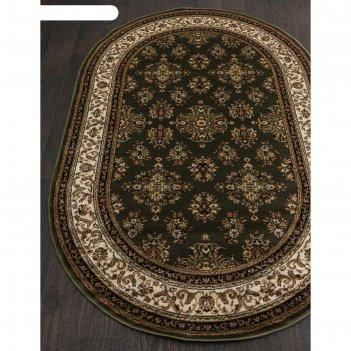 Овальный ковёр olympos d064, 250x400 см, цвет green