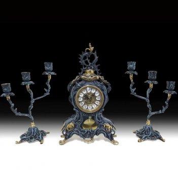 Часы каминные д.жуан с маятником с канделябрами на 3 свечи, набор из 3 пре