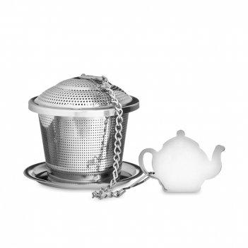 Ситечко для заваривания чая с блюдцем, диаметр: 5,4 см, материал: нержавею