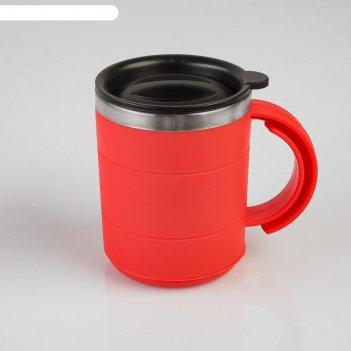 Термокружка каркан с крышкой, 450 мл, красная, 12.5х10.5 см
