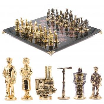 Шахматы железнодорожники змеевик креноид бронза доска 400х400 мм 10000 гр.