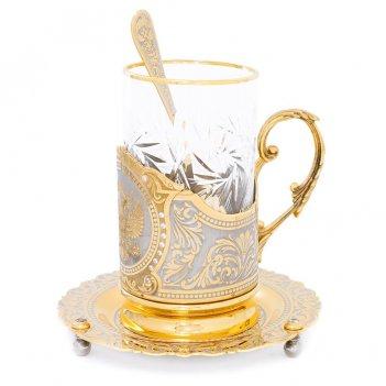 """Чайный набор """"герб"""" с фианитами"""