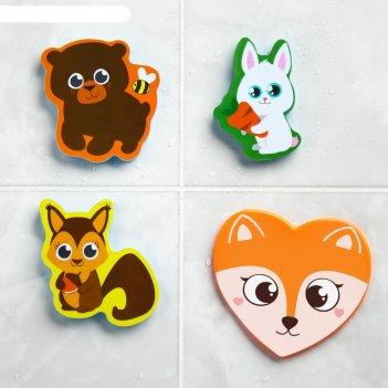Набор eva игрушек для ванны 3шт + мини-коврик лесные друзья