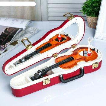 Шкатулка музыкальная пластик механическая скрипка бордо 6х34,5х12,7 см