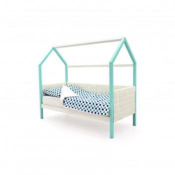 Детская кровать-домик мягкий бельмарко  svogen мятно-белый