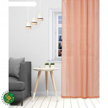 Тюль «этель» 140x250 см, цвет терракотовый, вуаль, 100% п/э