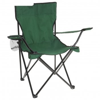 Кресло туристическое с подстаканником 50х50х80 см, цвет: зеленый