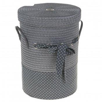 Корзина для белья, плетеная, круглая грей 40х40х55 см