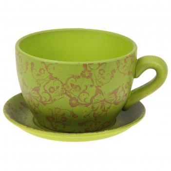 Горшок для цветов с поддоном 2250 мл чайная пара зеленое