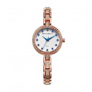 Часы наручные женские михаил москвин, белый циферблат, золотистый браслет,