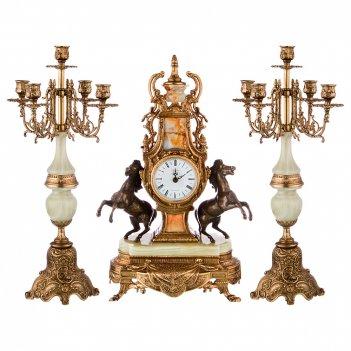 Набор:часы+2 подсвечника (кварцевые) высота=52/52 см.диаметр циферблата 10