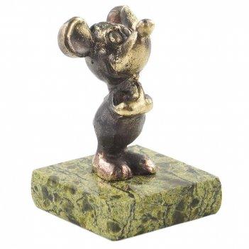 Сувенир мышонок змеевик бронза 35х35х50 70 гр.