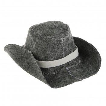 Банная шапка ковбойская, войлок, серая