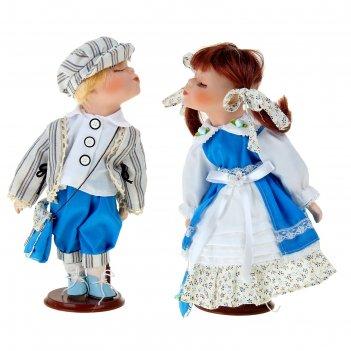 Кукла коллекционная парочка поцелуйчики саша и саша в наборе 2 шт