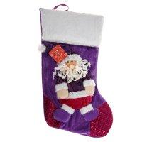 Носок для подарка дед мороз (малиновые блёстки)