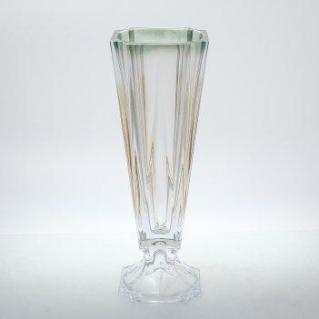 Ваза на ножке зеленая bohemia gold metropolitan 43 см