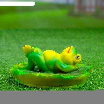 Садовая фигура лягушка на спине 13х6см