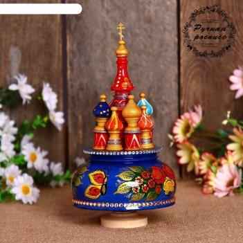Сувенир-шкатулка музыкальная храм. жостово, 19х15,5 см, синяя