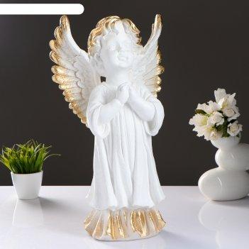 Фигура ангел молящийся большой белое золото 52х28х20см
