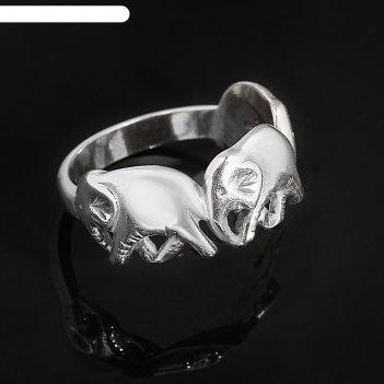 Кольцо три слона, размер 18, цвет чернёное серебро