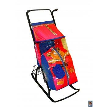 Санки-коляска снегурочка 42-р медвежонок с 4 колесиками и корзинкой синий-
