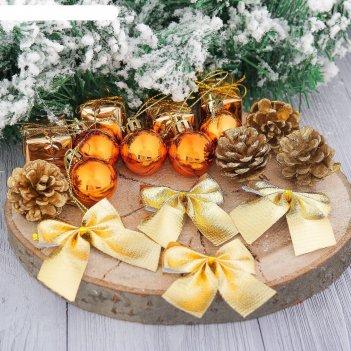 Украшения ёлочные в коробке сюрприз (4 шишки,4 подарка,4 бантика,5 шариков