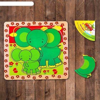 Пазл семья слонов, 5 элементов