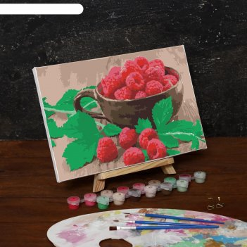 Картина по номерам на холсте спелая малина, 30*20 см
