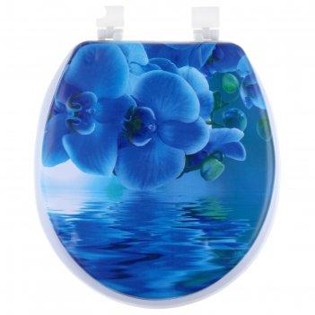 Сиденье для унитаза мягкое синяя орхидея