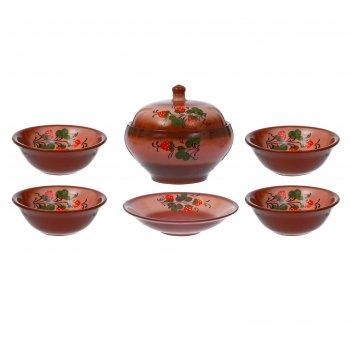 Набор посуды деревенский: 1 супница, 1 блюдо, 4 миски