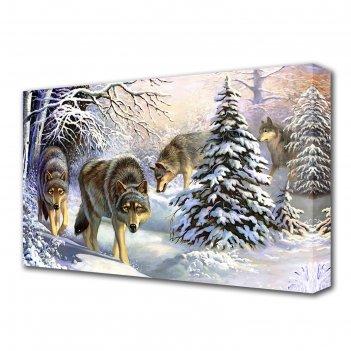 Картина на холсте волки в зимнем лесу 60*100 см
