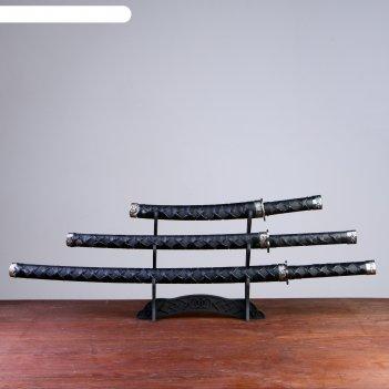 Катаны сувенирные 3в1 на подставке, черные ножны, оплетение