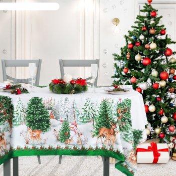 Скатерть этель новогодний лес 180х148 см, 100% хл, саржа 190 гр/м2