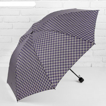 Зонт механический клетка, r=50см, цвет фиолетовый