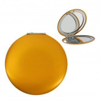 Зеркало круглое под нанесение, с увеличением, цвет желтый