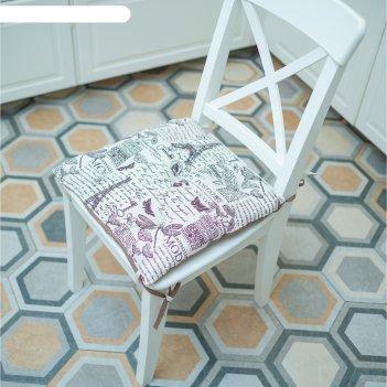 Подушка на стул, размер 45 x 45 см, принт париж