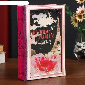 Сейф-книга дерево кожзам paris mon amour зеркальная 24х16х5 см