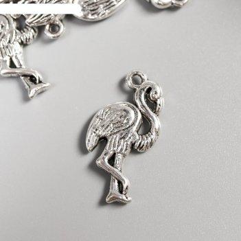 Декор металл для творчества фламинго серебро (а17482) 2,4х1,2 см