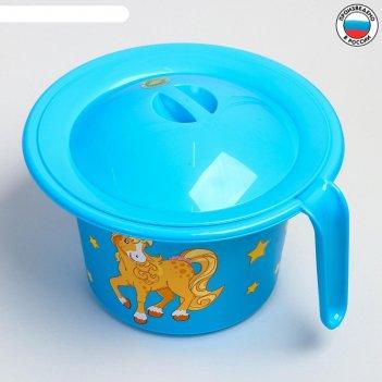 Горшок детский кроха с крышкой и декором, цвет голубой