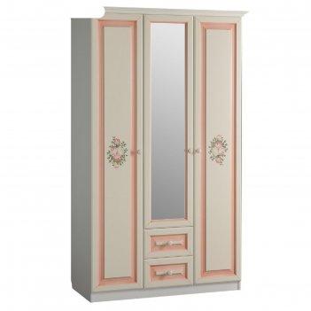 Шкаф 3-створчатый с ящиками* алиса (белый/крем)