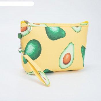 Косметичка-сумочка, отдел на молнии, с ручкой, цвет жёлтый, «авокадо»