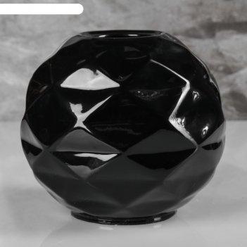 Ваза сфера, чёрный цвет, 16 см