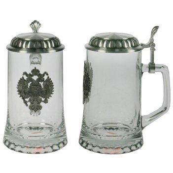 Пивная кружка коллекционная герб с крышкой (стекло, олово 95