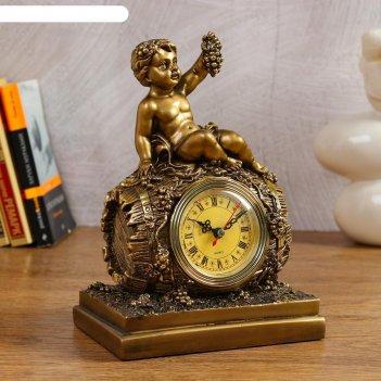 Часы настольные винная бочка (золото), 26 см